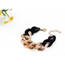 Плетеный браслет-цепочка «Черный с золотом»