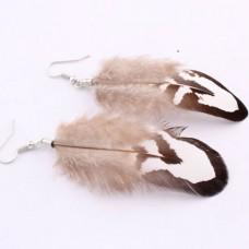 Дизайнерские серьги с перьями на швензах «Фантазия»