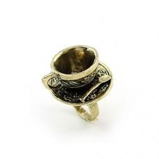 Безразмерное винтажное ретро-кольцо «Чашка кофе»