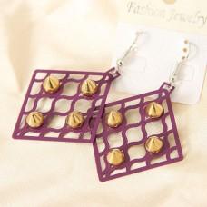 Серьги ромбиком со стразами «Фиолетовая сеточка»