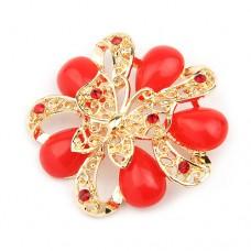 Брошь «Бабочка на красном цветке»