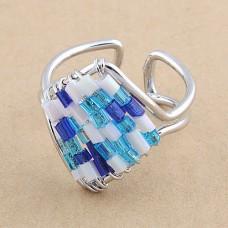Кольцо из бисера безразмерное «Морской бриз»