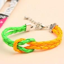 Разноцветный плетёный браслет «под кожу» «Лето»