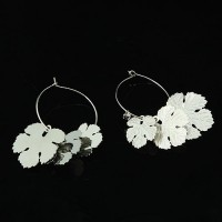 Круглые серьги-кольца «под серебро» «Кленовый лист»