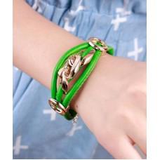 Летний зелёный браслет «под кожу» «Трава»